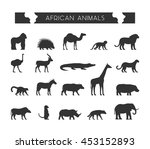 set silhouettes of african... | Shutterstock . vector #453152893
