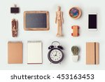 designer desk objects mock up... | Shutterstock . vector #453163453