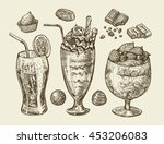 hand drawn soda  milkshake  ice ... | Shutterstock .eps vector #453206083