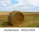 hay bale on the field after... | Shutterstock . vector #453211933