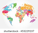 world map in typography word... | Shutterstock .eps vector #453229237