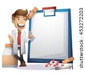 doctor vector cartoon with... | Shutterstock .eps vector #453272203