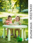 two little girls sitting at a... | Shutterstock . vector #453276433