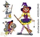 set of three cute cartoon... | Shutterstock .eps vector #453312943