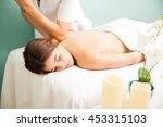 pretty young brunette relaxing...   Shutterstock . vector #453315103