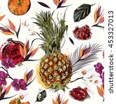 tropical pattern with fruits... | Shutterstock .eps vector #453327013