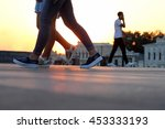 legs of people walking at... | Shutterstock . vector #453333193