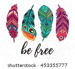 be free. boho art print with... | Shutterstock .eps vector #453355777