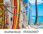 surfboards in the hawaiian sun... | Shutterstock . vector #453363007