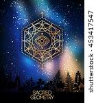 sacred geometry emblem with eye ... | Shutterstock .eps vector #453417547