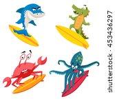 surfer cool monsters. surfing... | Shutterstock .eps vector #453436297