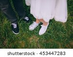 bride in white sport shoes and... | Shutterstock . vector #453447283