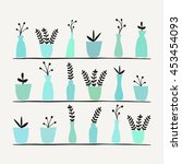 a collection of plants in pots. | Shutterstock .eps vector #453454093