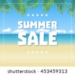 summer sale text on blue sea ... | Shutterstock .eps vector #453459313