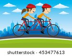 cycling on city background. | Shutterstock .eps vector #453477613