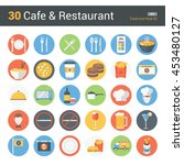 30 cafe   restaurant  food icon ... | Shutterstock .eps vector #453480127