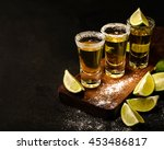 mexican gold tequila with lime... | Shutterstock . vector #453486817