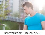 portrait of athletic man with... | Shutterstock . vector #453502723