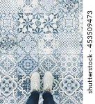 selfie of feet with sneaker...   Shutterstock . vector #453509473