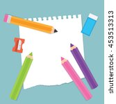 back to school stationery items ... | Shutterstock .eps vector #453513313
