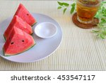 whole   sliced fresh watermelon ... | Shutterstock . vector #453547117