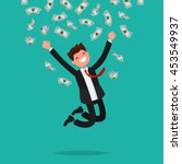 on a man are falling money... | Shutterstock .eps vector #453549937