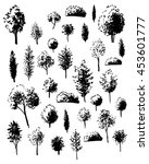 trees sketch set  vector... | Shutterstock .eps vector #453601777