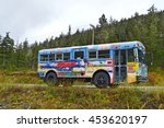 Small photo of An unidentified decorated old bus standing alone somewhere in Douglass Island, Juneau, ALASKA USA : 4 May 2016