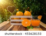 fresh oranges on the wooden... | Shutterstock . vector #453628153
