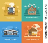different dwelling set. modern...   Shutterstock .eps vector #453628573