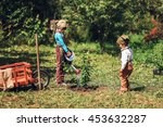 the little girls gardener... | Shutterstock . vector #453632287