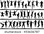 silhouettes of young people and ... | Shutterstock . vector #453636787