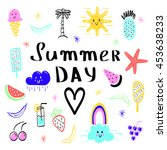summer day inscription  ice... | Shutterstock .eps vector #453638233