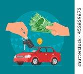car sale illustration. customer ... | Shutterstock . vector #453639673