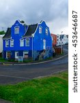 Small photo of AKUREYRI, ICELAND - JUNE 17, 2016: View of typical old houses, in Akureyri, Iceland