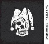 Skull In Jester Cap Grunge...