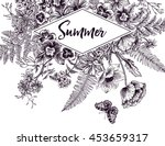 vintage frame with garden... | Shutterstock .eps vector #453659317