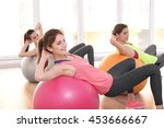 young women doing exercise with ... | Shutterstock . vector #453666667