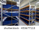 Shelving Racks With Empty Blue...