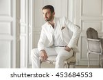 elegant young handsome man with ... | Shutterstock . vector #453684553