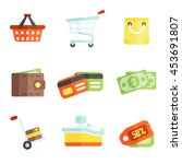 colorful shoping and cash icons ... | Shutterstock .eps vector #453691807
