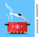 boiling water in pan. vector... | Shutterstock .eps vector #453696037