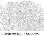 stylized elephant among leaves... | Shutterstock .eps vector #453700993