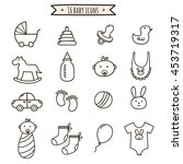 baby doodle icons set. cute... | Shutterstock .eps vector #453719317