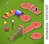 mini golf courses with stairway ... | Shutterstock .eps vector #453727657