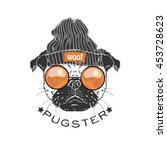portrait of pug boy hipster ...   Shutterstock .eps vector #453728623
