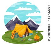 camping cartoon vector. tourist ... | Shutterstock .eps vector #453732097