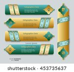 Set Of Green And Golden Banner...