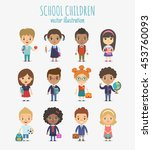 set of vector cute school... | Shutterstock .eps vector #453760093