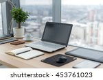 sideview of office desktop with ... | Shutterstock . vector #453761023